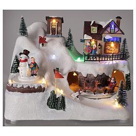 Villaggio albero Natale slittini luci musica 20x25x15 cm s2