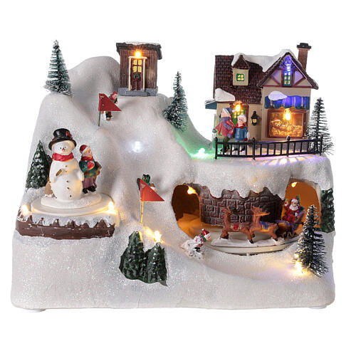 Villaggio albero Natale slittini luci musica 20x25x15 cm 1