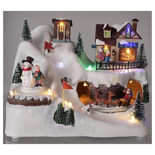 Villaggio albero Natale slittini luci musica 20x25x15 cm 2