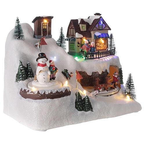 Villaggio albero Natale slittini luci musica 20x25x15 cm 4