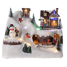 Christmas tree village sleds light music 20x25x15 cm s1