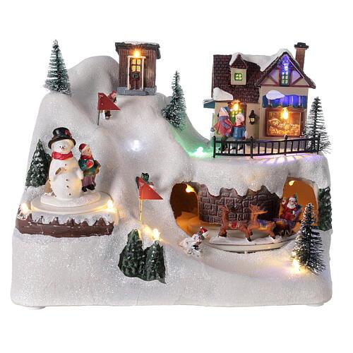 Christmas tree village sleds light music 20x25x15 cm 1
