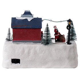 Train station Christmas village Santa music 20x30x20 cm s5