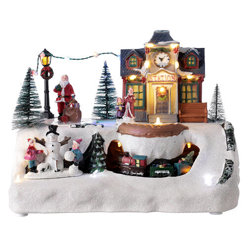 Train station Christmas village Santa music 20x30x20 cm 1
