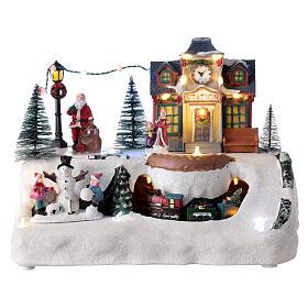Villaggio Natale stazione treno Babbo Natale musica 20x30x20 cm s1