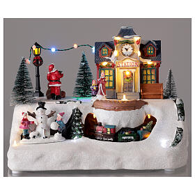 Villaggio Natale stazione treno Babbo Natale musica 20x30x20 cm s2