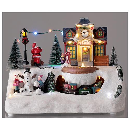 Villaggio Natale stazione treno Babbo Natale musica 20x30x20 cm 2