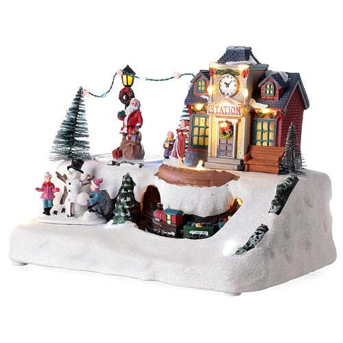 Villaggio Natale stazione treno Babbo Natale musica 20x30x20 cm 3
