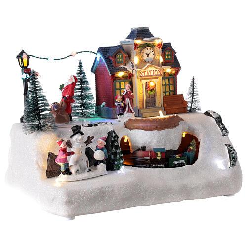 Villaggio Natale stazione treno Babbo Natale musica 20x30x20 cm 4