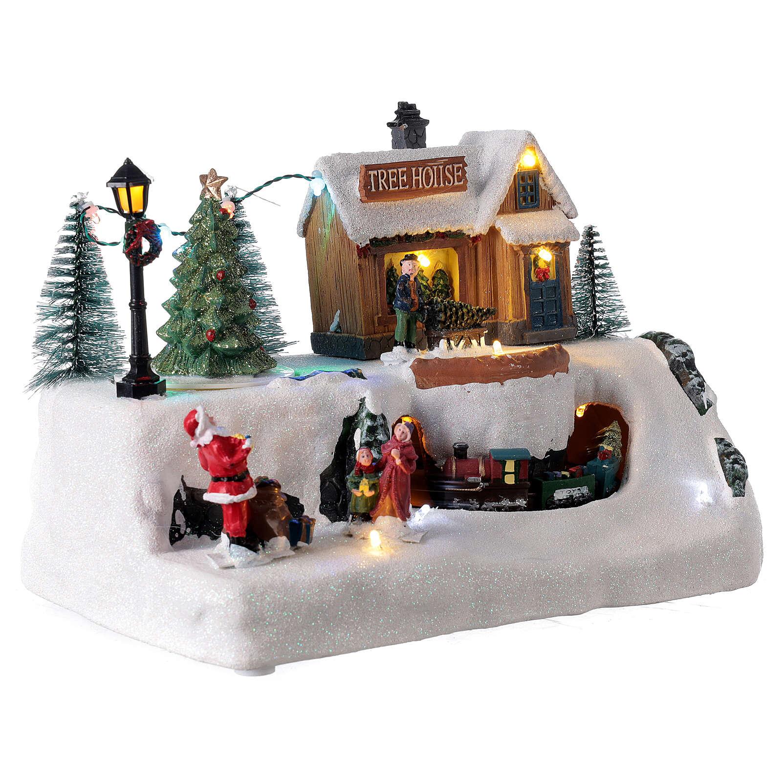 Village Noël patineurs traîneau lumières LED musique 20x30x20 cm 3