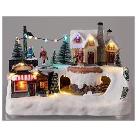 Villaggio natalizio albero addobbato LED multicolore musica 20x30x20 cm s2