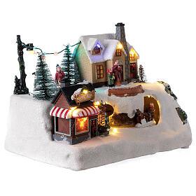 Villaggio natalizio albero addobbato LED multicolore musica 20x30x20 cm s4