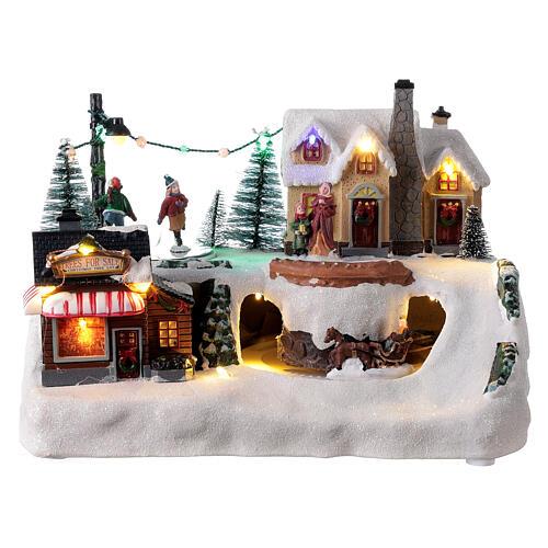 Villaggio natalizio albero addobbato LED multicolore musica 20x30x20 cm 1