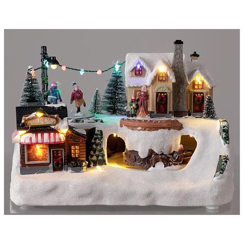 Villaggio natalizio albero addobbato LED multicolore musica 20x30x20 cm 2