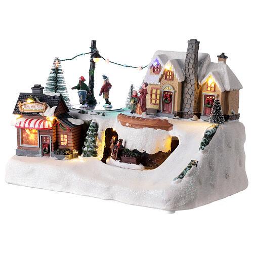 Villaggio natalizio albero addobbato LED multicolore musica 20x30x20 cm 3