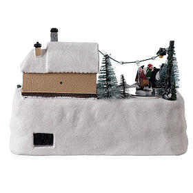 Christmas village decorated tree LED multi-color music 20x30x20 cm s5