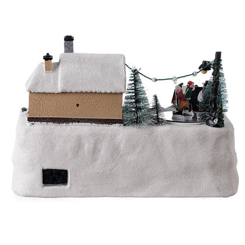 Christmas village decorated tree LED multi-color music 20x30x20 cm 5