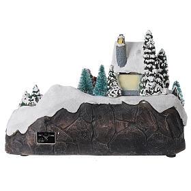 Scène Noël village train rivière éclairée musique 20x30x20 cm s5