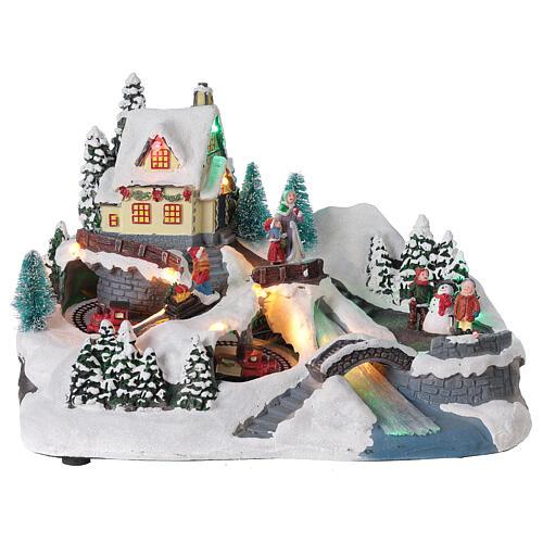 Scène Noël village train rivière éclairée musique 20x30x20 cm 1