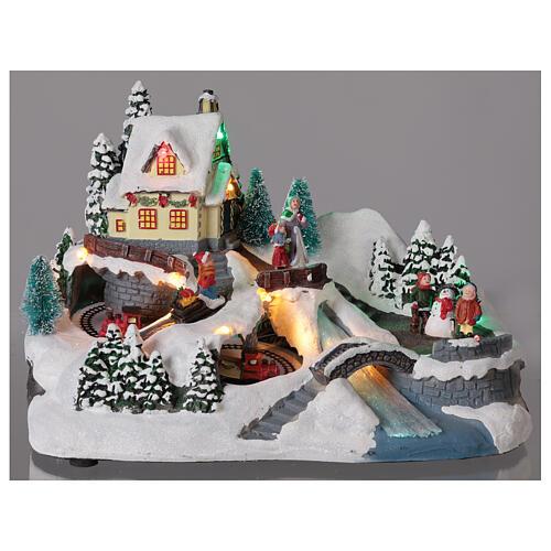 Scène Noël village train rivière éclairée musique 20x30x20 cm 2