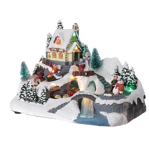Scène Noël village train rivière éclairée musique 20x30x20 cm 3