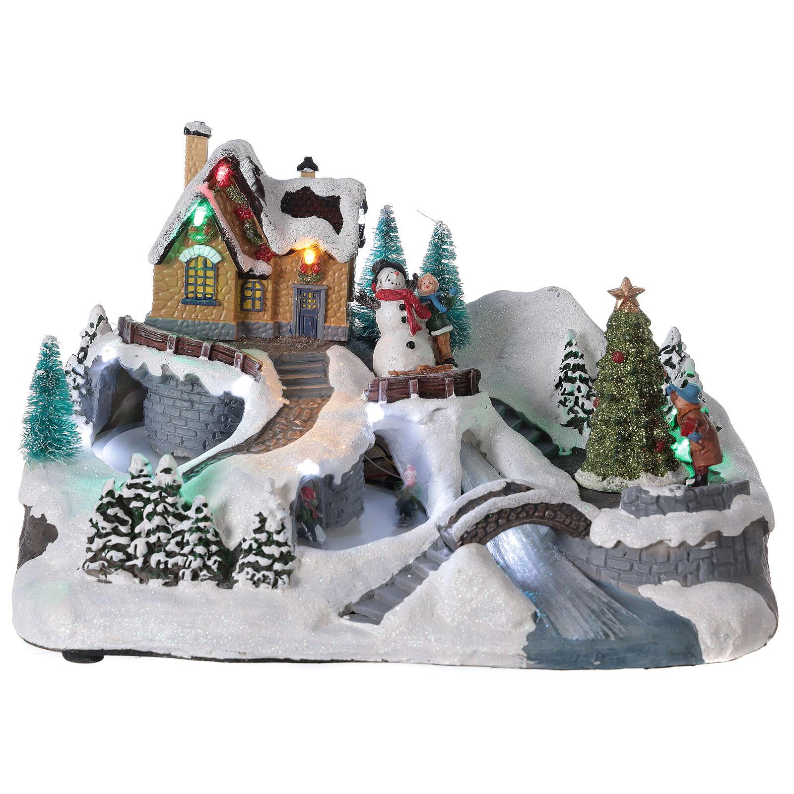 Lighted Christmas village tree skaters river lights 20x30x20 cm 3