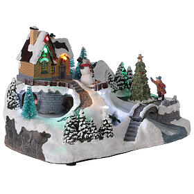 Lighted Christmas village tree skaters river lights 20x30x20 cm s4