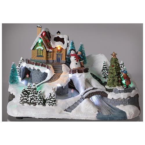 Lighted Christmas village tree skaters river lights 20x30x20 cm 2
