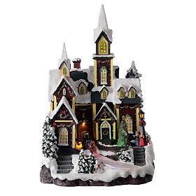 Nordic church Christmas village snowy lights music 45x30x25 cm s1