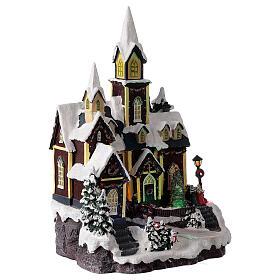 Nordic church Christmas village snowy lights music 45x30x25 cm s4