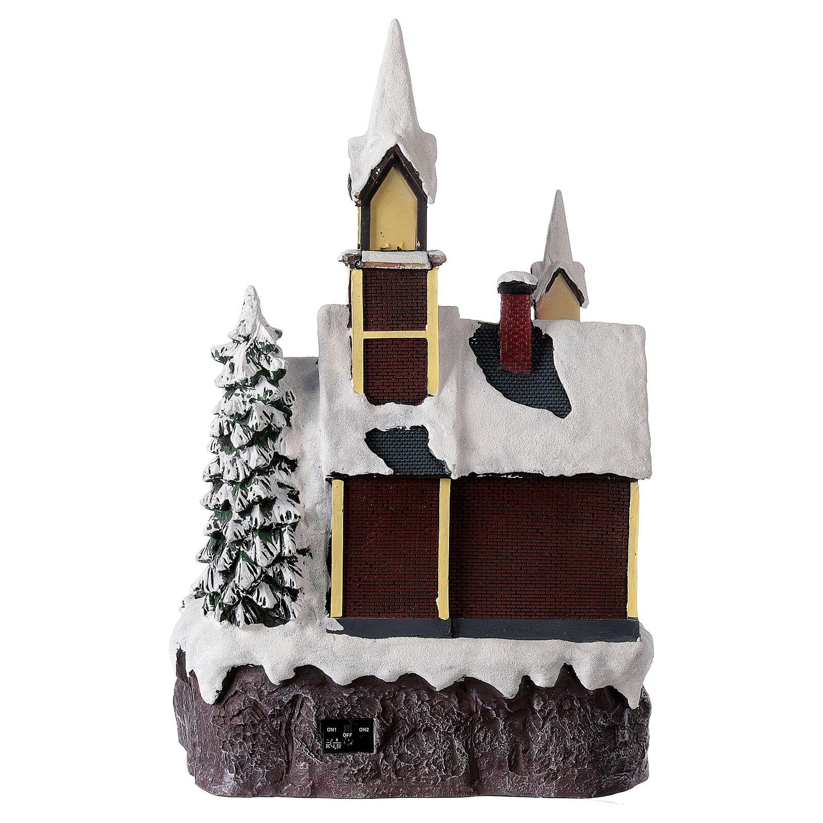 Igreja de estilo nórdico com neve, decoração natalina, luzes e música, 45x30x26 cm 3