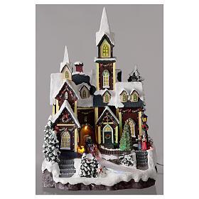 Nordic church Christmas village snowy lights music 45x30x25 cm s2