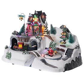 Villaggio Natale tunnel treno luci led musica 25x40x20 cm s3