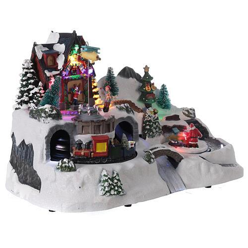 Villaggio Natale tunnel treno luci led musica 25x40x20 cm 4