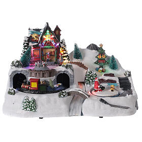 Christmas village tunnel train LED lights music 25x40x20 cm s1