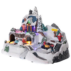 Snowy Christmas village deer LED lights music 25x40x20 cm s3