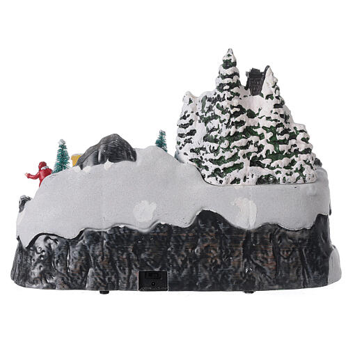Snowy Christmas village deer LED lights music 25x40x20 cm 11