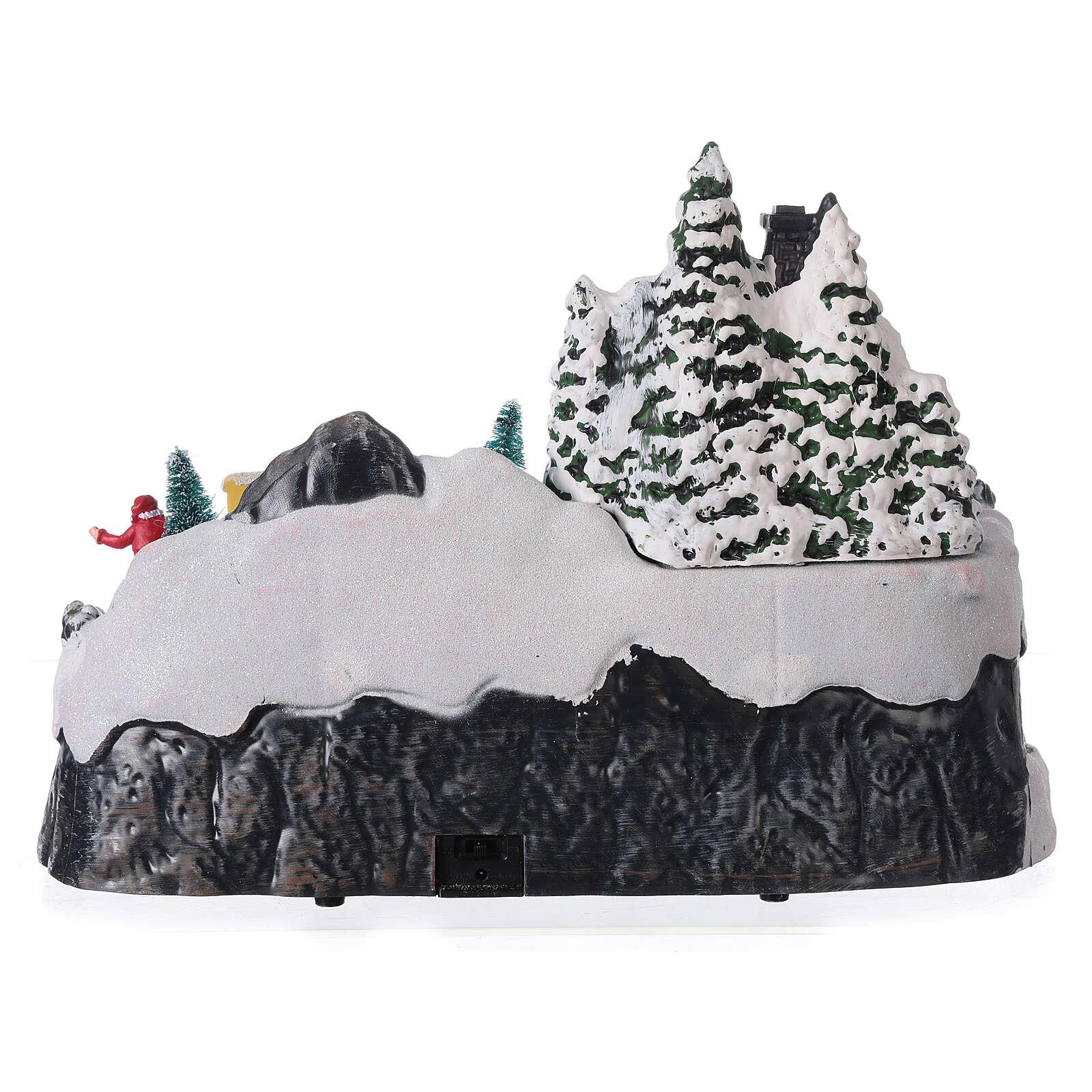 Pueblo nevado Navidad ciervos led música 25x40x20 cm 3