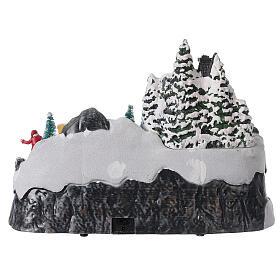 Pueblo nevado Navidad ciervos led música 25x40x20 cm s11