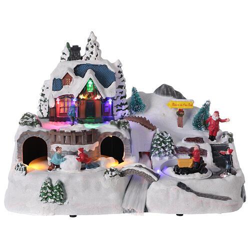 Village enneigé Noël cerfs LED musique 25x40x20 cm 1