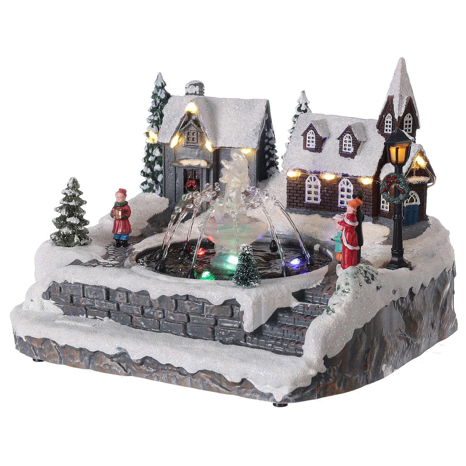 Christmas village frozen fountain multi-color LEDs 20x25x20 cm 3