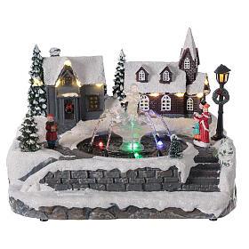 Christmas village frozen fountain multi-color LEDs 20x25x20 cm s1