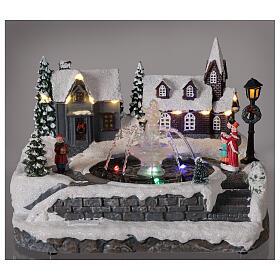 Christmas village frozen fountain multi-color LEDs 20x25x20 cm s2