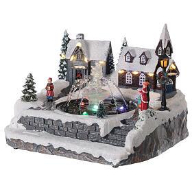 Christmas village frozen fountain multi-color LEDs 20x25x20 cm s3