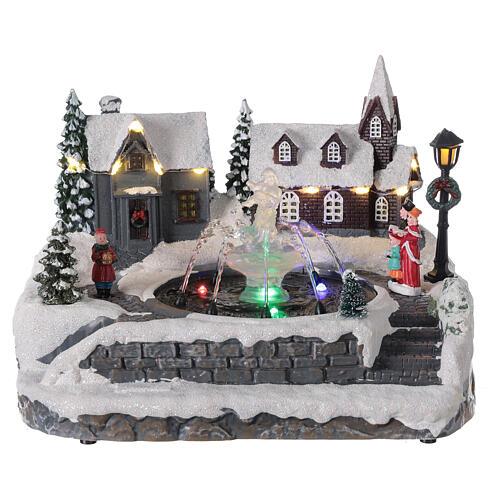 Christmas village frozen fountain multi-color LEDs 20x25x20 cm 1
