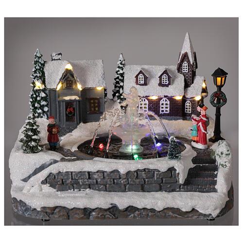 Christmas village frozen fountain multi-color LEDs 20x25x20 cm 2