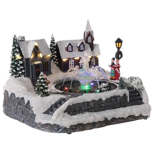 Christmas village frozen fountain multi-color LEDs 20x25x20 cm 4