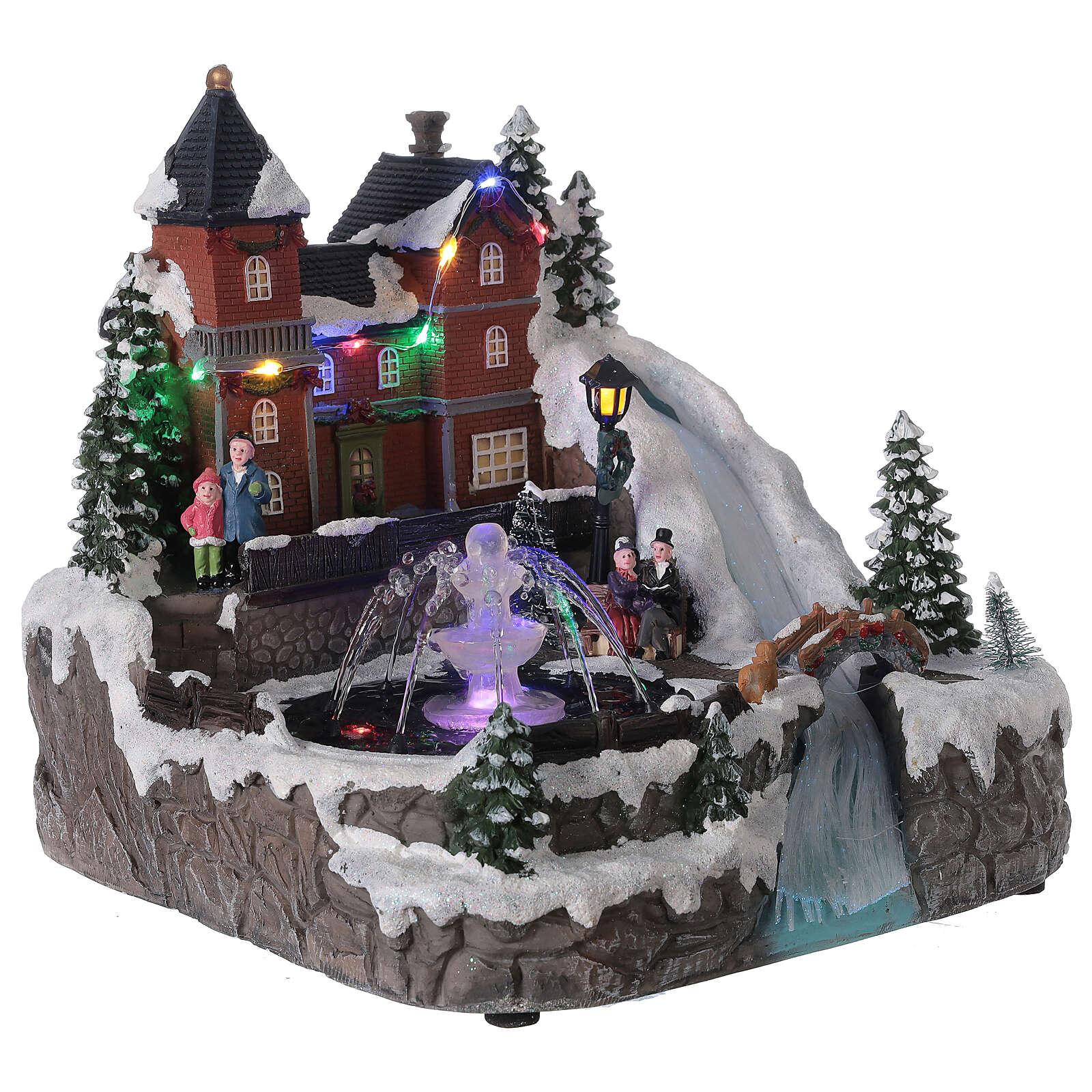 Snowy village working fountain LED lights 25x25x25 cm 3