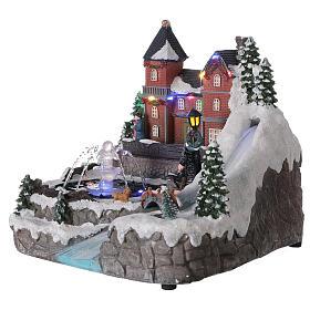 Snowy village working fountain LED lights 25x25x25 cm s3
