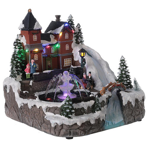 Snowy village working fountain LED lights 25x25x25 cm 4